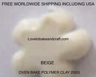 Polymer clay.  250g. Oven bake polymer clay, Beige, figurine clay,  Free worldwide shipping